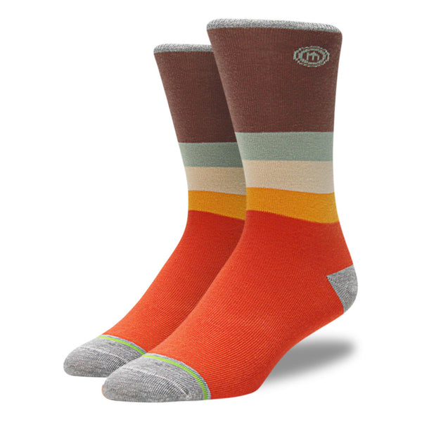 Mod Orange & Brown Striped Socks
