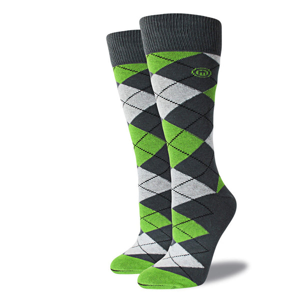 Green & Gray Argyle Socks