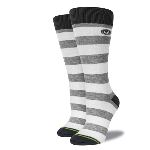 Gray & White Striped Socks