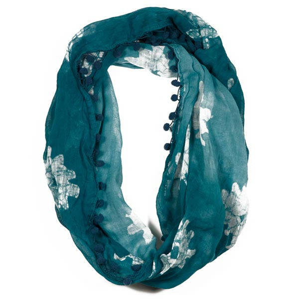 Sea Foam & Flowers Batik Infinity Scarf