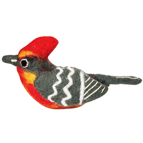 Wild Woolie Bird Ornament - Vermillion Flycatcher