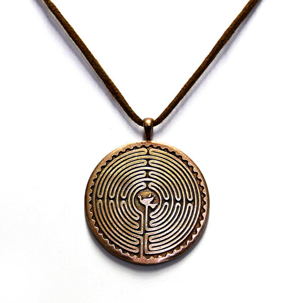 Labyrinth Bronze Necklace
