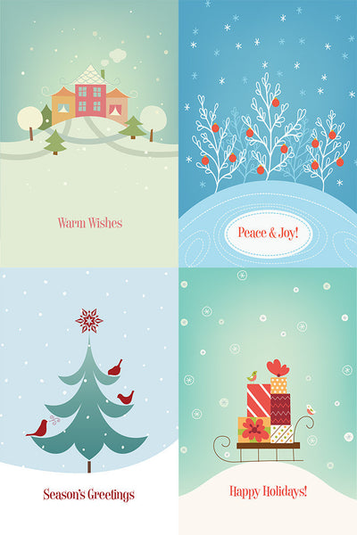 Warm Wishes Assorted Multipack of 12 Holiday Cards