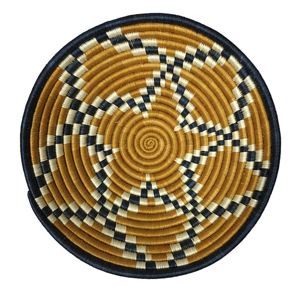 Blue & Gold Large Woven Basket