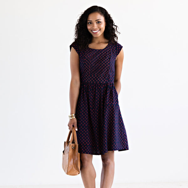 Anika Scoop Dress Navy & Red Print