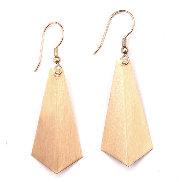 Brushed Golden Triangle Earrings