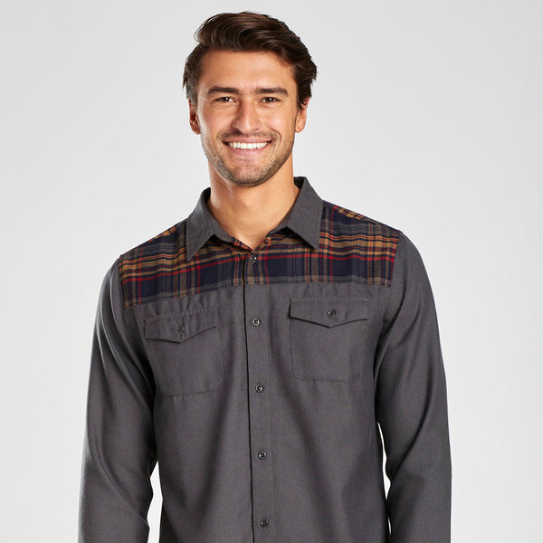 Plaid Yoke Wool Button-Down Shirt