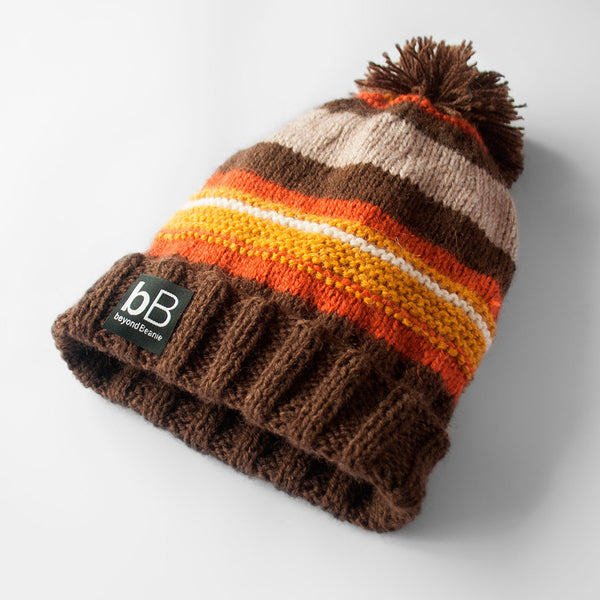 Mod Brown & Orange Beanie with Pom