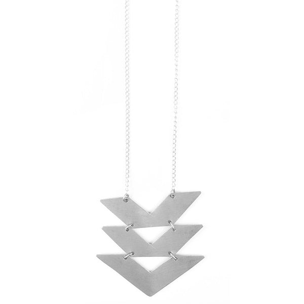 Silver Cropped Chevrons Necklace