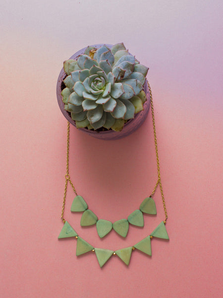 Rising Sun Necklace - Mint Green