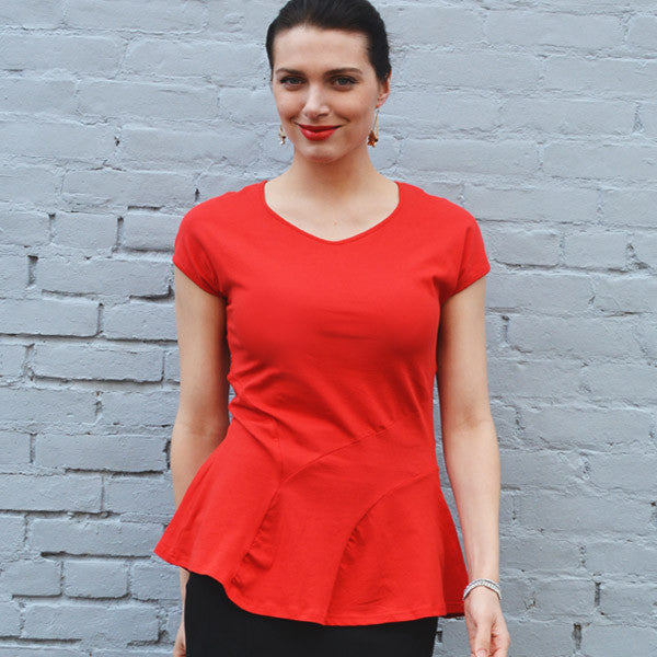 Victoria Seamed Top in Flame Scarlet
