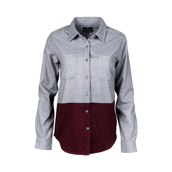 Pinedale Gray & Burgundy Colorblock Wool Shirt