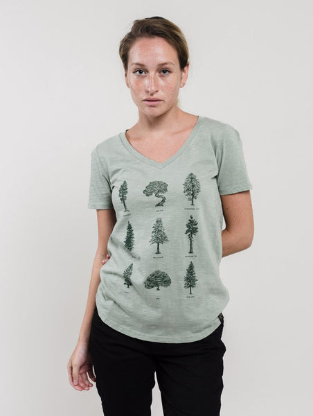 Evergreen Trees Sage Green V-Neck Tee