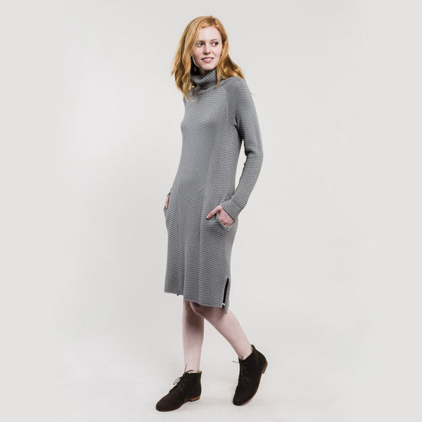 Luna Waffle Sweater Dress - Gray