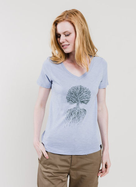 Tree Roots V-Neck Tee, Lake Blue