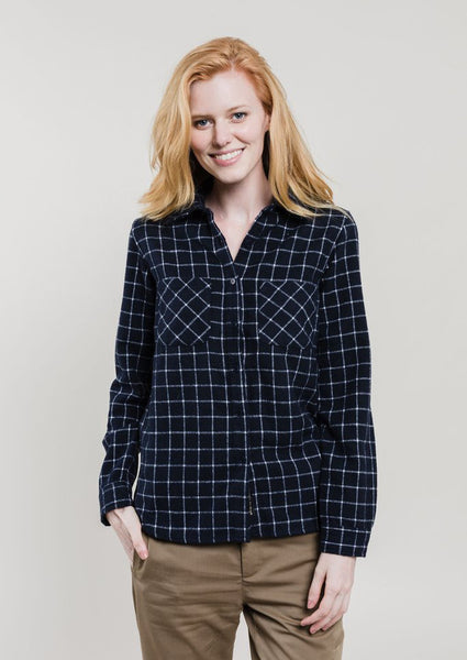 Navy & White Wool Plaid Shirt