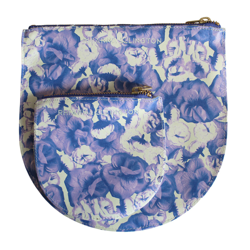 Rose Print Leather Clutch and Purse Combo