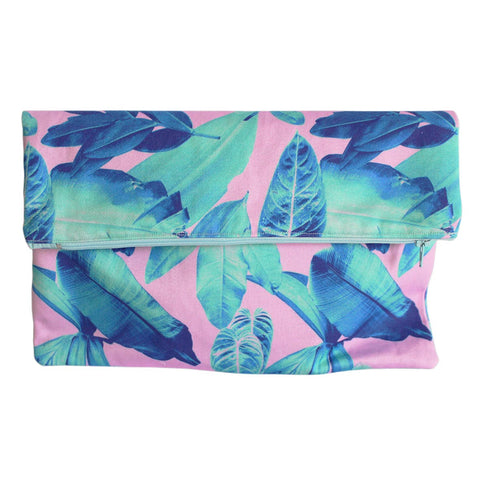 Leaf Print Clutch Bag