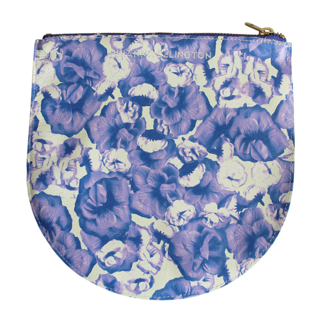 Large Rose Print Leather Clutch