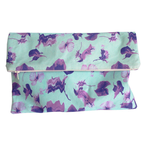 Distorted Floral Print Clutch Bag