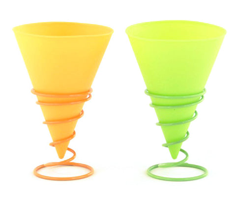 Silicone Snow Cone Cups with Holders - Assorted Colors - 6 Ounces