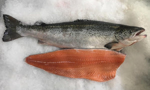 Salmon Side, Verlasso Atlantic (skin on, pin bones out, ~4 lbs @ $9.49/lb)
