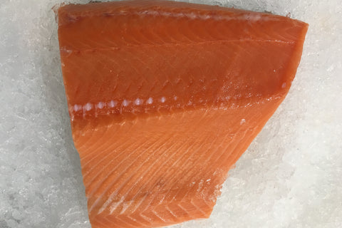 Salmon Fillet, Wild Alaskan King (frozen at sea, delivered fresh, skin off, pin bones out)