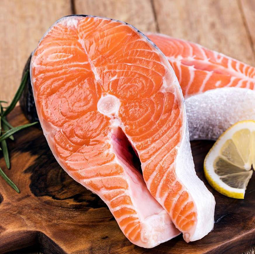 Salmon Steak, Wild Alaskan King Salmon (frozen at sea, delivered fresh, scaled, skin on, bone in, 12-16 oz Steak Cut)