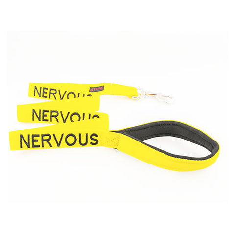 Friendly Dog Collars - Yellow 'NERVOUS' Lead - 120cm