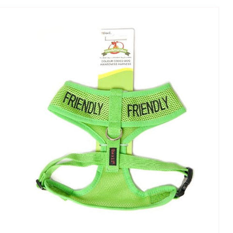 Friendly Dog Collars - Green 'FRIENDLY' Harness - 56-92cm