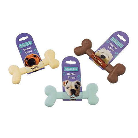 Dog & Co - Nylon Dental Chew Bone - Large - 17cm - Chocolate