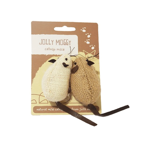 Jolly Moggy - Natural Wild Catnip Toy - Mice - 2Pc