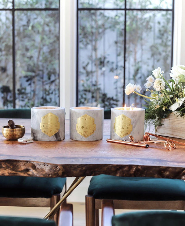 LesRuches USDA certified organi beeswax refillable candle featured in FORBES