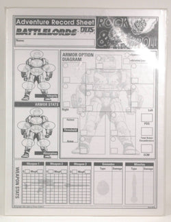 Battlelords ODS Adventure Record Sheet, by