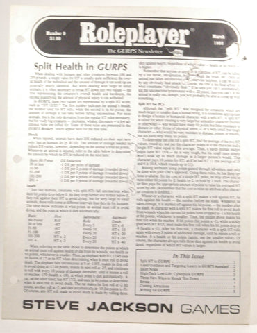 Roleplayer: The GURPS Newsletter #9 March 1988, by