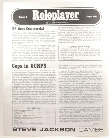Roleplayer: The GURPS Newsletter #6 August 1987, by