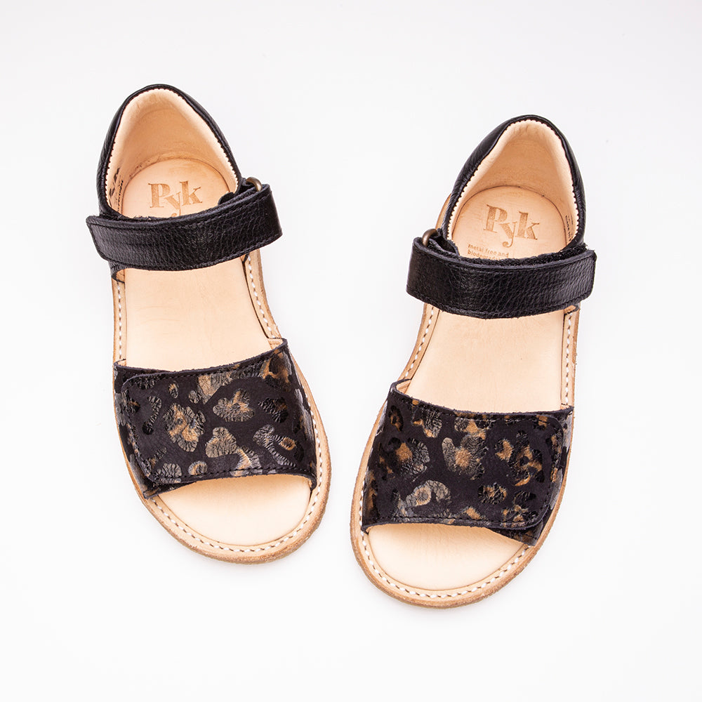 Line Black Leopard sandals for children Pyk Copenhagen
