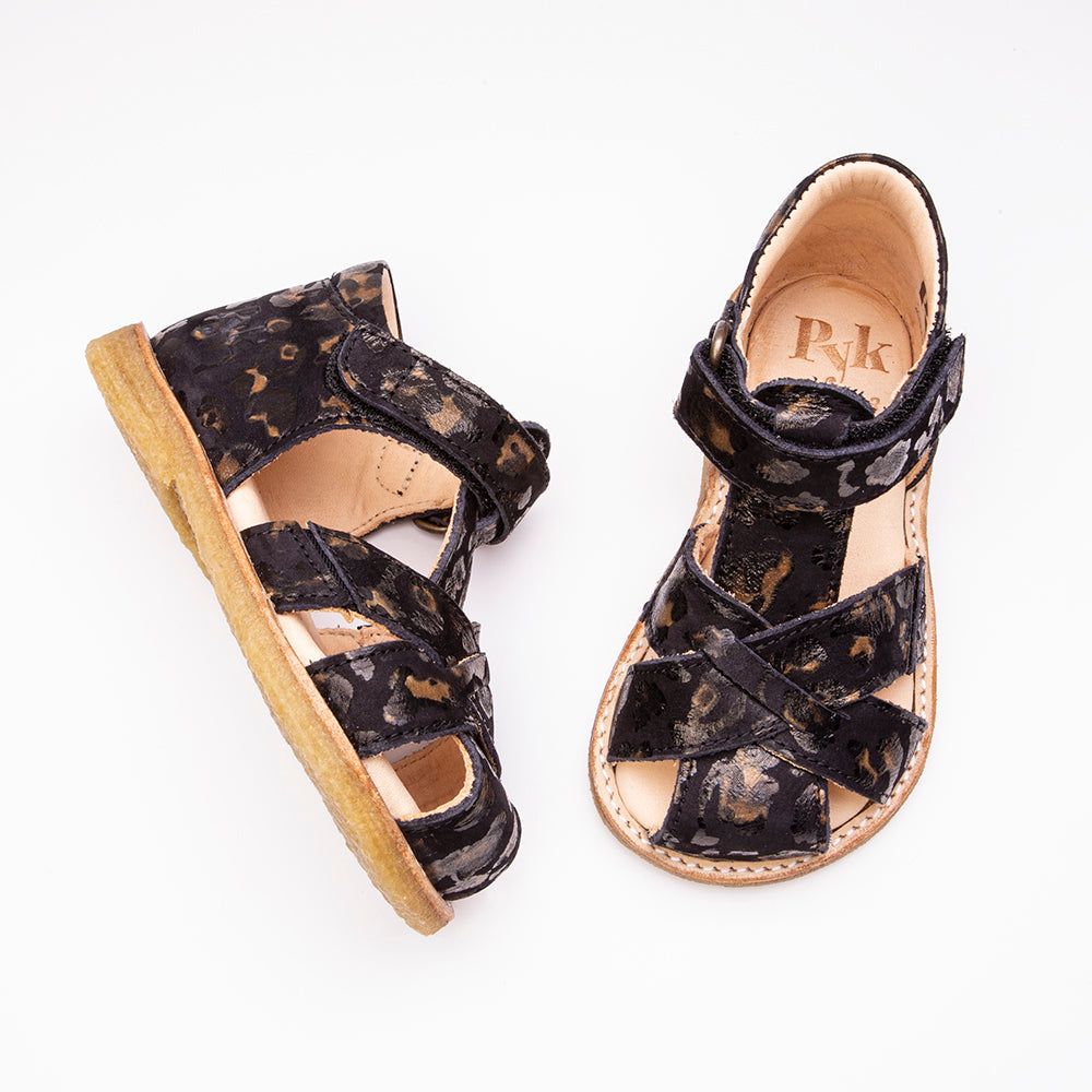 Sille Black Leopard sandals for children Pyk Copenhagen