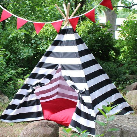 play tent for kids with black and white stripes