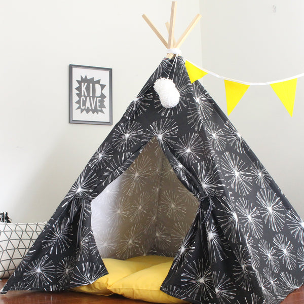 Kids Teepee Tent, Black and White Dandelion Wishes