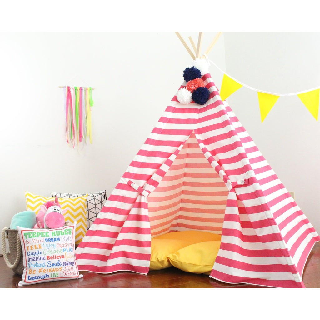 Play Tent Kids Teepee Tent, Hot Pink and White Stripes