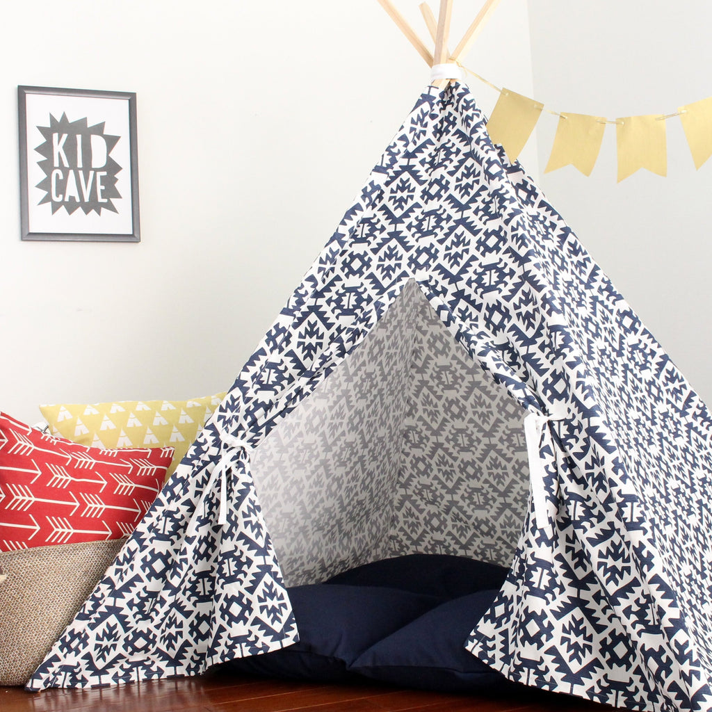 Navy  Teepee Tent, Southwest Fabric Pattern, Navy Blue