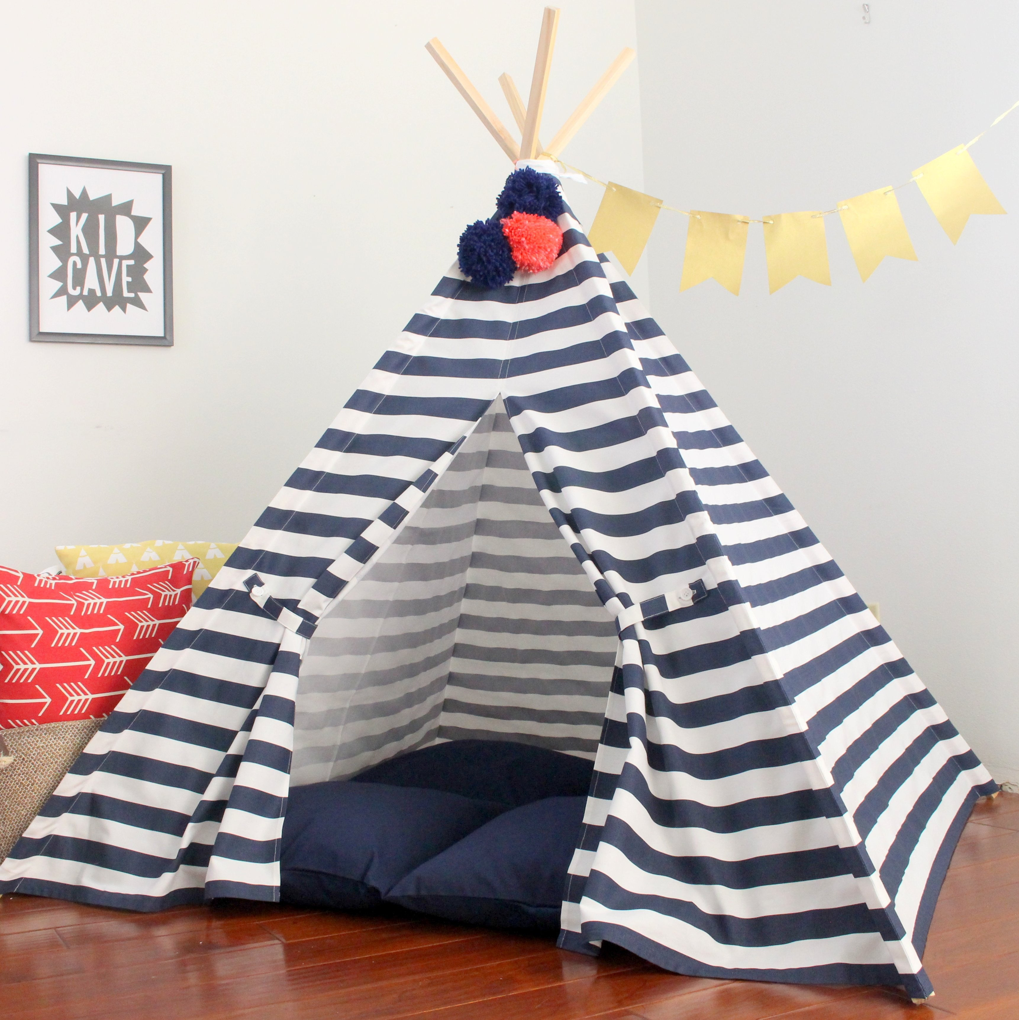 Navy Striped Play Tent Kids Teepee Tent