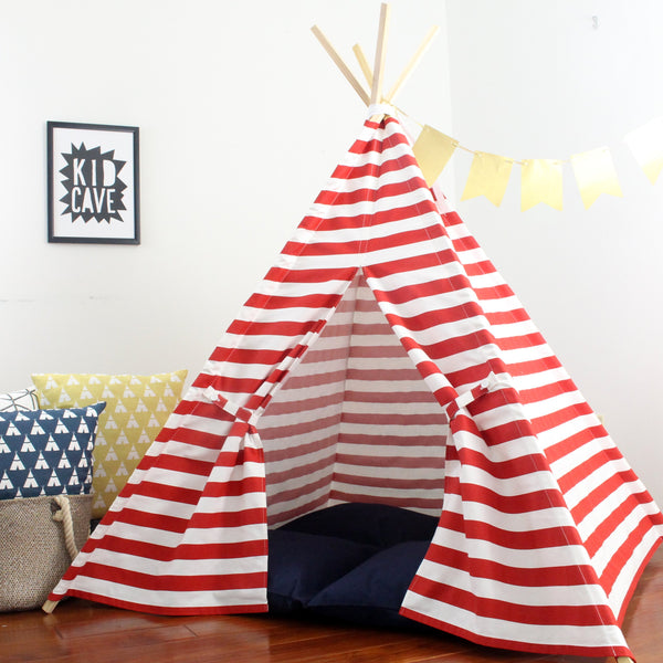 Kids Teepee Play Tent with Red Stripes