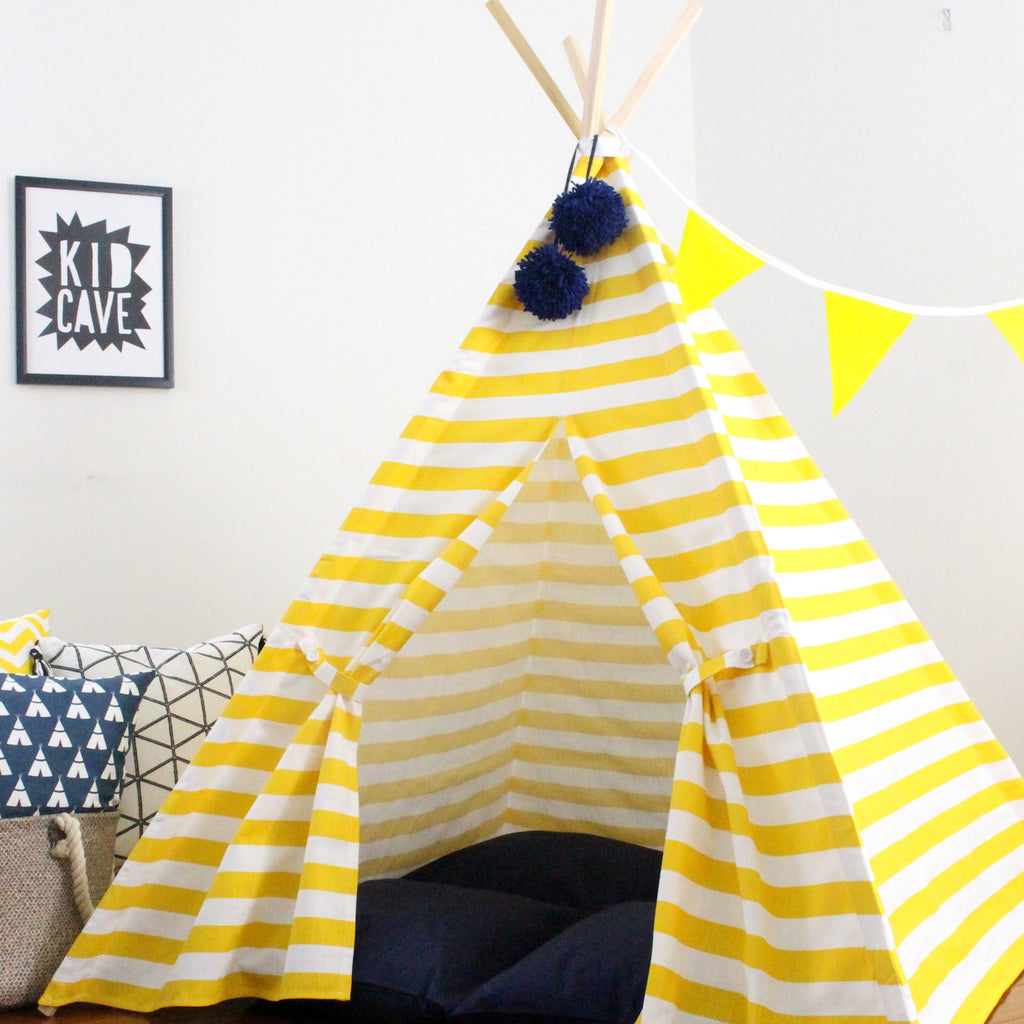 Kids Teepee Play Tent, Yellow and White Stripes, Stripes are 2""