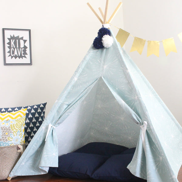 Kids Teepee Tent, Light Blue and White Dandelion Wishes