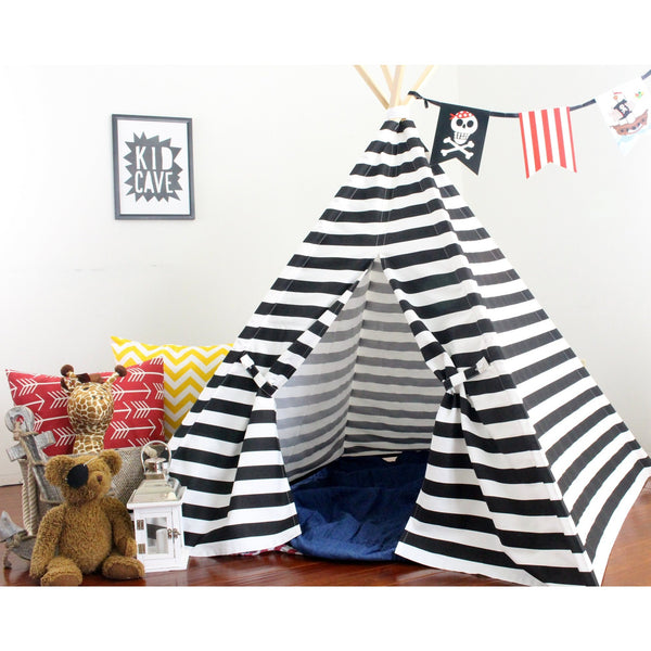 Black Striped Play Tent Kids Teepee Tent, Stripes are 1.5""