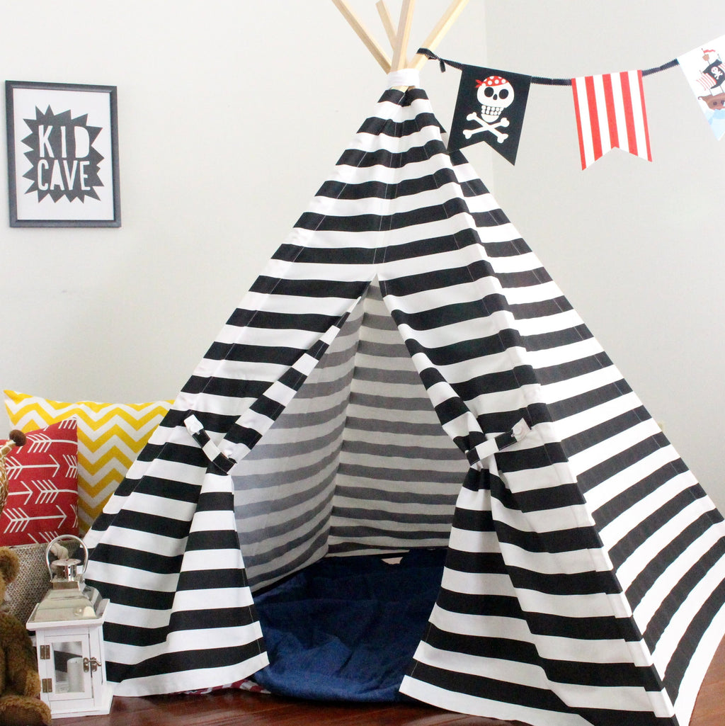 Kids black and white striped teepee