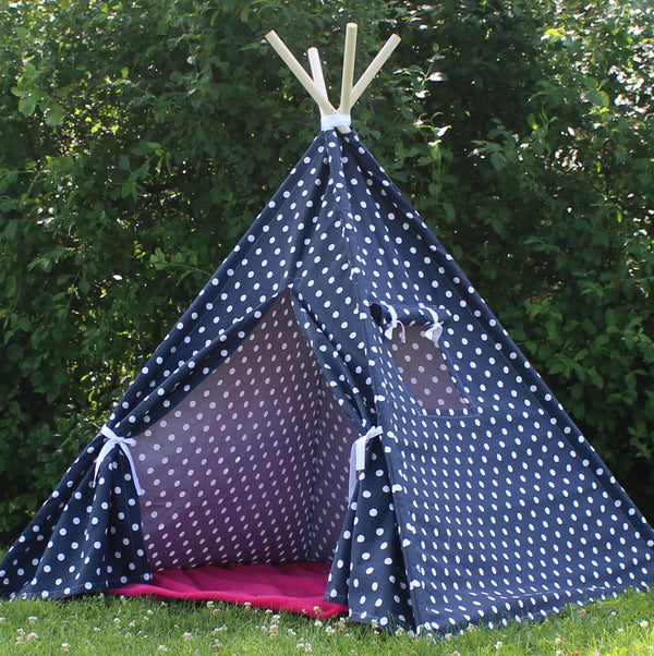 Navy Polka Dot Kids Teepee Play Tent with Window