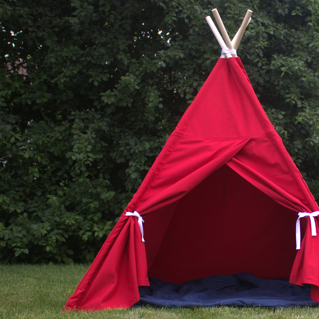 Red Canvas Kids Teepee Play Tent with Window